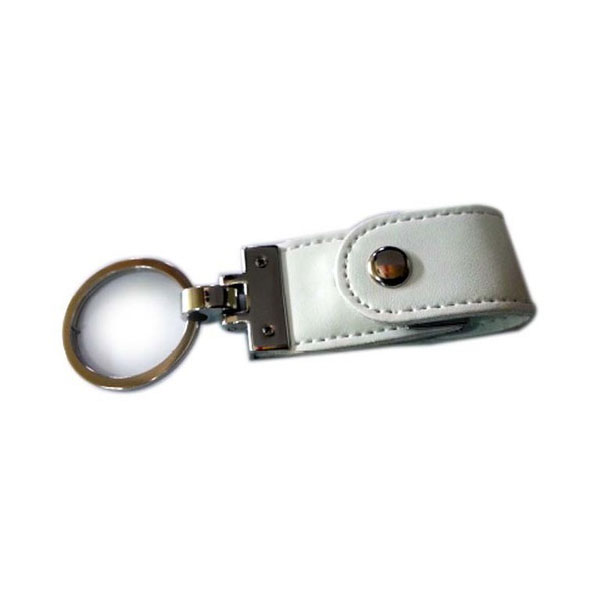 Leather Button Key Chain White Pen Drive – Brand Solution India